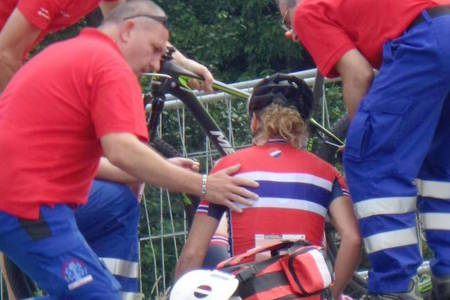 Gunn Rita Dahle Flesjå krasjet fem sekunder etter at startskuddet gikk. Foto: Privat