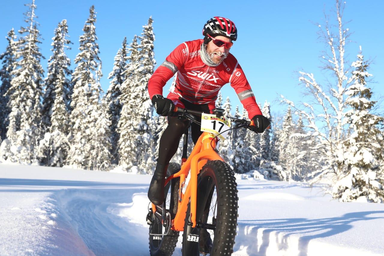 Vidar Mehl tok sitt andre uoffisielle NM-gull i fatbike med overlegen seier på Lygna. Foto: Ola Morken