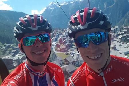 I løpet av det seks dager lange etapperittet Swiss Epic skal Fredrik Haraldseth og Ole Hem sykle 12000 høydemeter fordelt på 350 kilometer. Foto: Privat