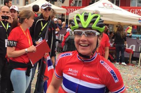 Nybakt verdensmester i terrengsykkel maraton, Gunn-Rita Dahle Flesjå, er en av de ni rytterne som er tatt ut til EM i Italia 22.-26. juli. Foto: Furusjøen Rundt AS