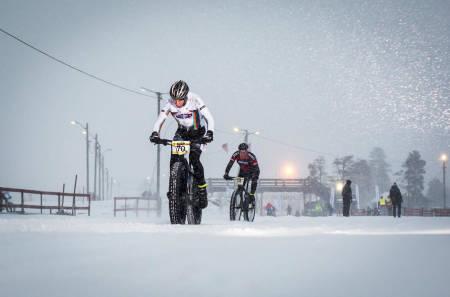 Odd Erlend Hansen Berg vant det første uoffisielle fatbike-NM, som ble arrangert på Lygna i januar. Foto: Snorre Veggan
