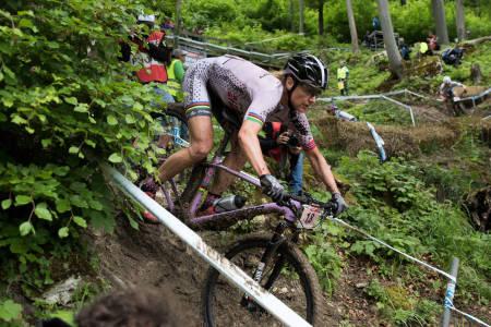 Gunn-Rita Dahle Flesjå syklet inn til 14.plass i verdenscuprittet i Albstadt, sju minutter bak vinneren. Foto: Bengt Ove Sannes