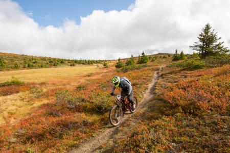 Ted Johansen i fin flyt over Hafjell i høstprakt. Foto: Sylvain Cavatz