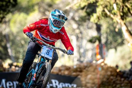 Mille Johnset kjørte inn til ny tredjeplass i utforverdenscupen på helgas runde i Val di Sole i Italia. Foto: Sven Martin