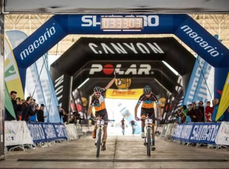 OVERRASKELSE:  Periklis Ilias og Tiago Ferreira tok en solid, men noe overraskende etappeseier på kongeetappen i årets Andalucia Bike Race.