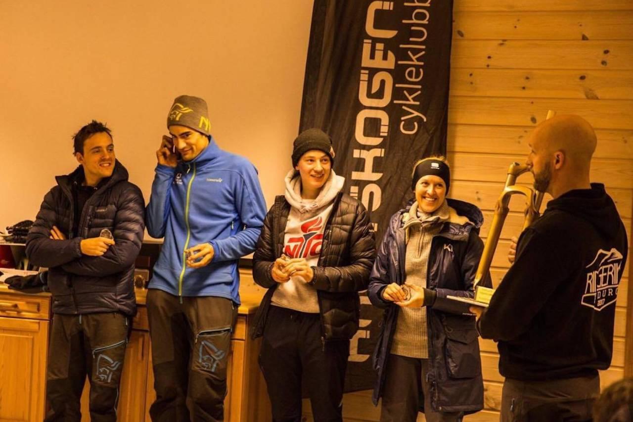 Bærum og Omegn CK vant vandregaffelen i Ringerike Enduro her representert ved Joakim Fjeld Kristoffersen, Marius Fjeld , Ola Jåvold Landmark og Andrea Coucheron. Foto: Silje Holmsen