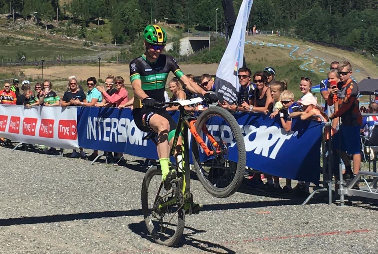 Petter Fagerhaug ble norgesmester i rundbane under dagens mesterskap, som gikk på Fagerhaugs hjemmebane i Lillehammer. Foto: Lena Øverbye