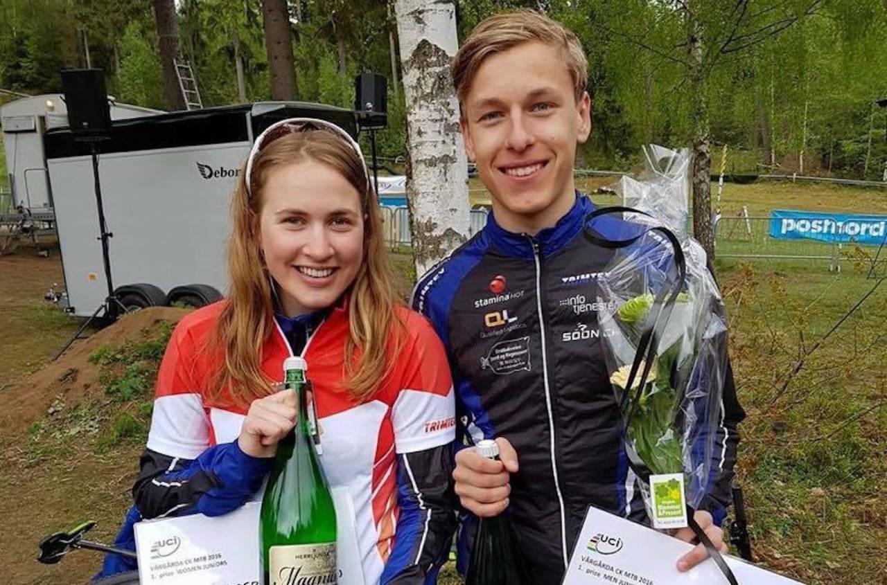 Førsteårsjuniorene Thea Siggerud og Tobias Johannessen fra Soon CK har imponert landslagsledelsen og premieres med VM-billetter. Foto. Privat