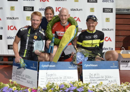 SVENSK DOMINANS: Svenskene sikret seg de åtte første plassene i CykelVasan. Fredrik Ericsson vant foran Mattias Nilsson og Johan Landström. Foto: Vasaloppet