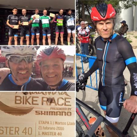 ETAPPESEIER: Kjell Karlsen og Thomas Morgan Knudsen tok seieren i M40 på dagens 1. etappe i Andalucia Bike Race.