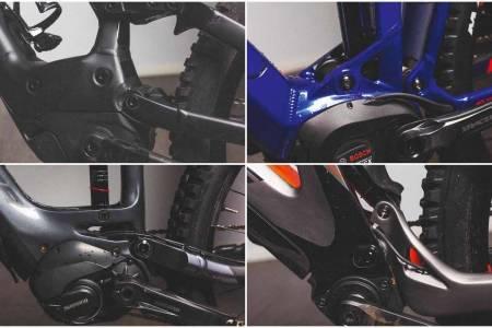 ÅRETS MOTORER: Disse fire motorene er med på syklene i årets store test av el-terrengsykler.