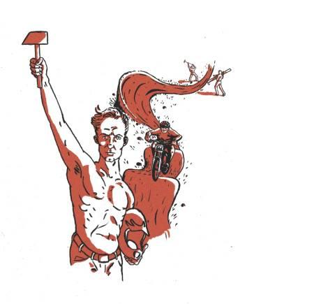 LØYPELAGER: Når terrengsyklister bygger løyper beregnet på terrengsykling kan det bli riktig så moro. La oss bygge mer, men spør om lov og søk om støtte først. Illustrasjon: Didrik Magnus-Andresen