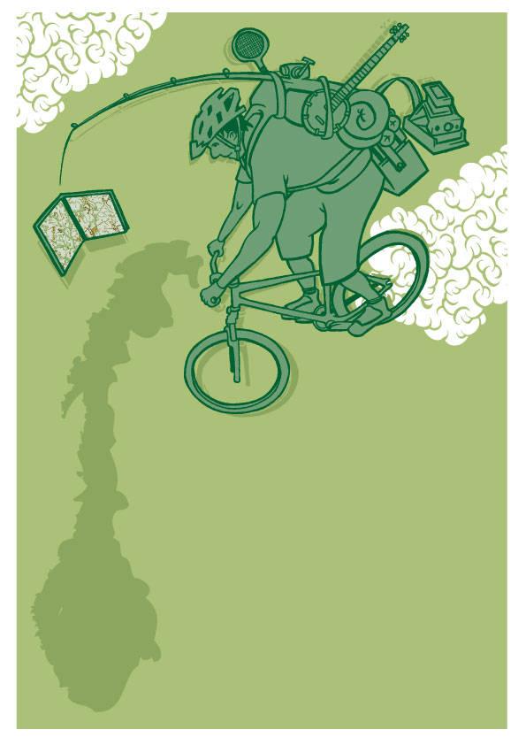 TA UTFORDRINGEN: Hva med en oppdagelsesreise i sommer. Finn frem atlaset og legg ut på tur. Illustrasjon: Joar Christoffersen